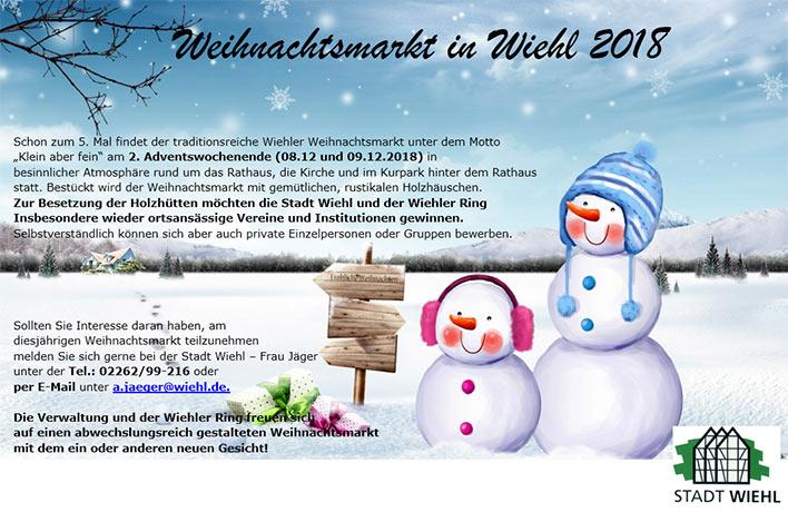Aussteller Weihnachtsmarkt.Stadt Wiehl Wiehler Weihnachtsmarkt 2018 Aussteller Gesucht